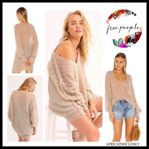 FREE PEOPLE BOHO PULLOVER V-NECK TUNIC SWEATER A2C